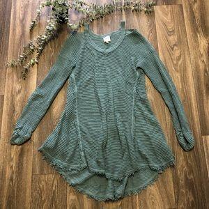 Hayden Sage Green V Neck sweater Tunic Top